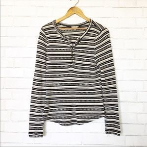 Lucky Brand Striped Thermal Textured Henley Tee